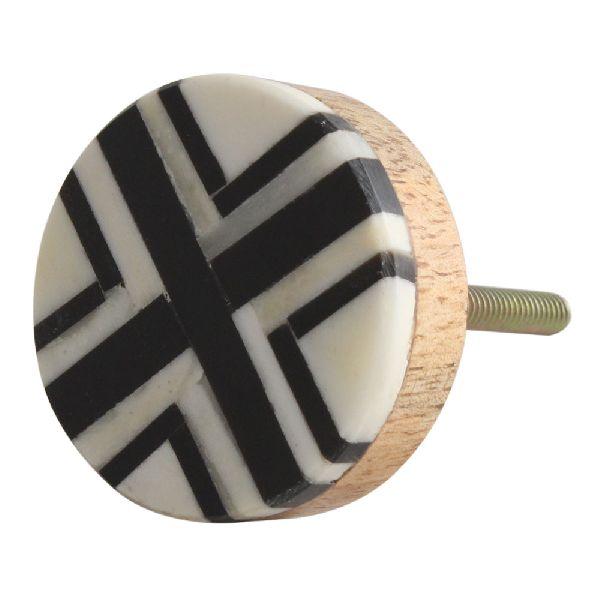 Black Round Bone Horn Cabinet Wooden Knob
