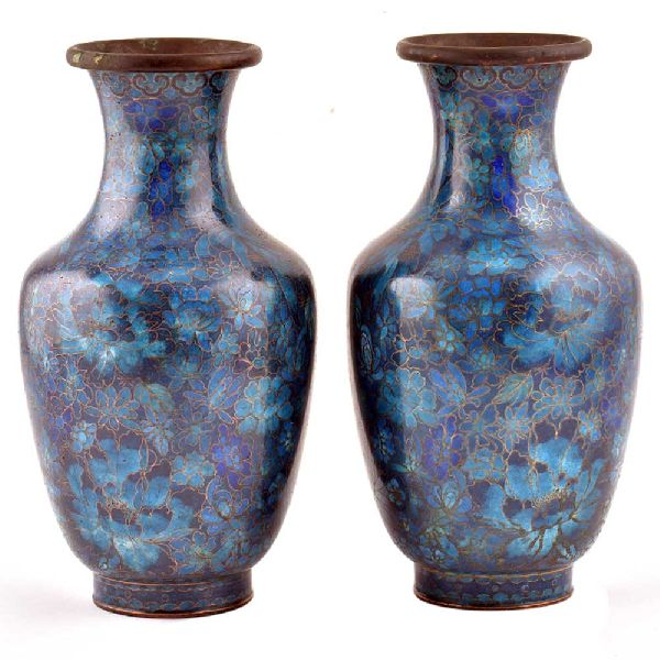 Blue Cloisonne Floral Ground With Delicate Green Flowers(Set Of 2)