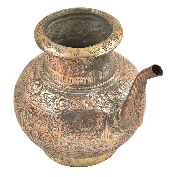 Brass Engraved Floral Design Copper Holy Water Pot