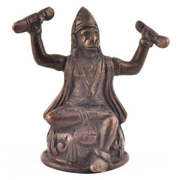 Brass Hanuman Singing Bhajans Of His Lord Statue
