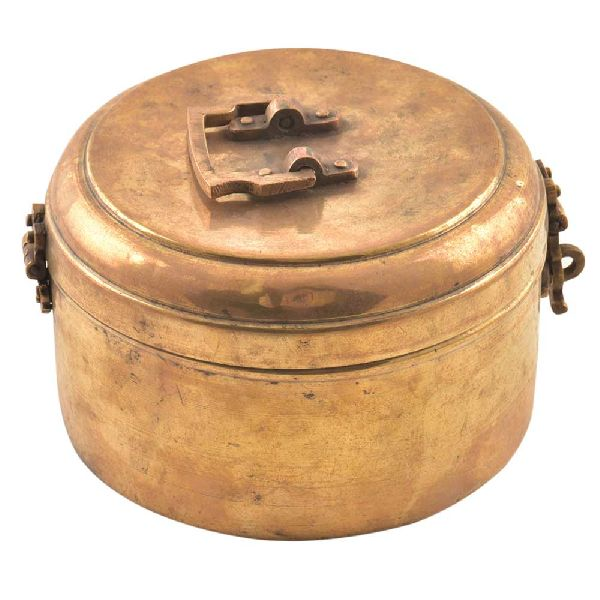 Brass Intricately Carved Storage Box