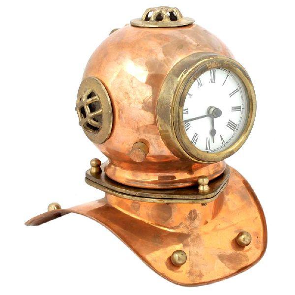 Copper and Brass Divers Helmet Clock