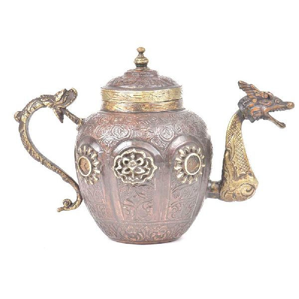 Copper and Brass Tea Pot With Fine Engraving