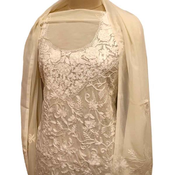 Creamy Delight Floral Dress Fabric Georgette With Matching Dupata