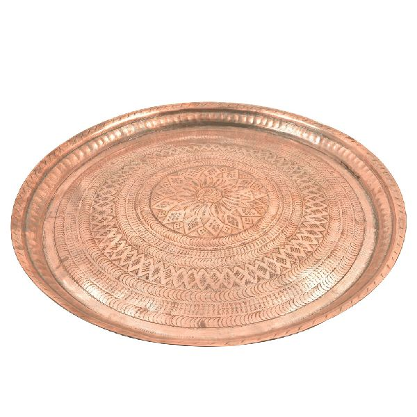 Diamond Borders Etched Copper Plate