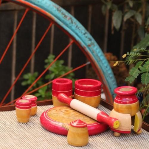 Eco Friendly Red Wooden Toy Kitchen Set Kids