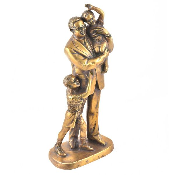 Exquisite Brass Father and Children Statue