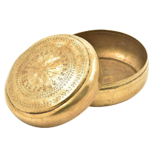 Handmade Round Brass Roti Box With Engraved Lid