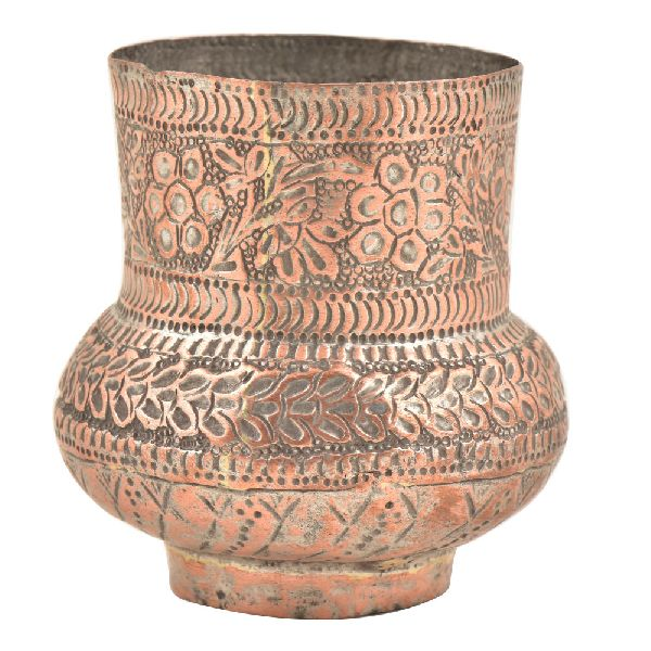 Kashmiri Copper Vase With Fine Floral Design and Unusual Design