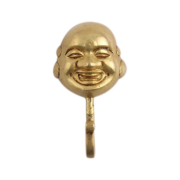Laughing Buddha Brass Wall Hook