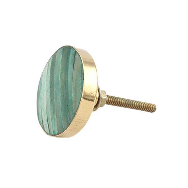 Round Sea Green Metal and Bone Knob