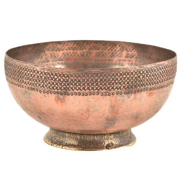 Starry Pattern Border Engraved On Rim OF Copper Bowl