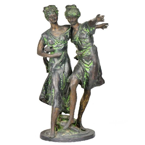 Two Ladies Dancing Brass Figurine