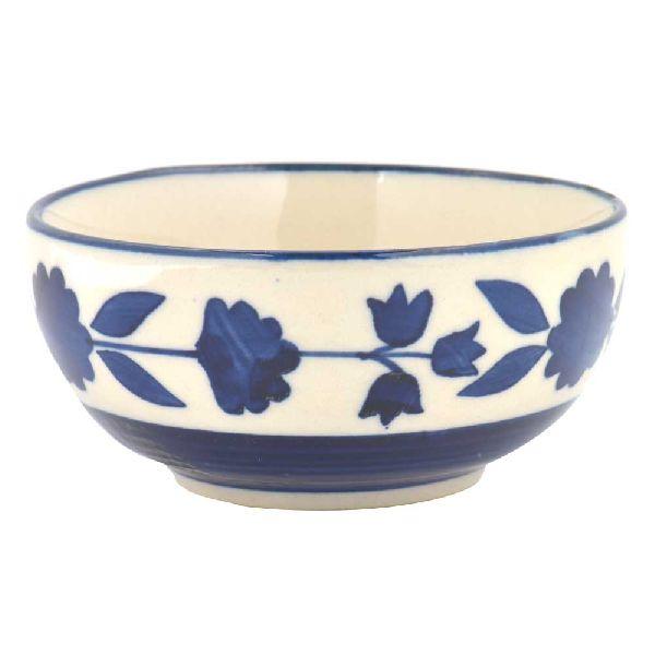White Blue Floral Border Bowl Set of 2