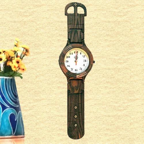Wrist Watch Pattern Rosewood Wall Clock
