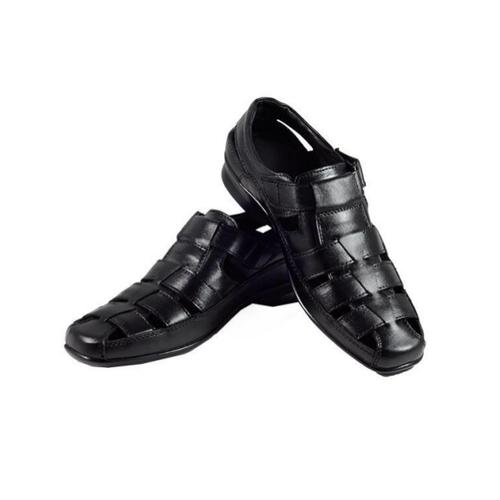 Mens Black Leather Sandal