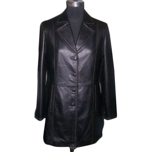 Ladies Long Leather Trench Coat