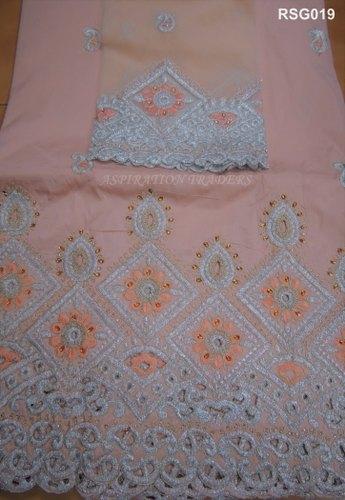 Raw Silk Embroidered George Fabric