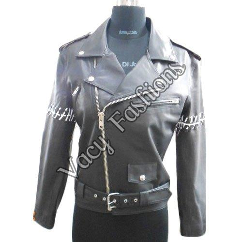 Ladies Black Biker Leather Jacket