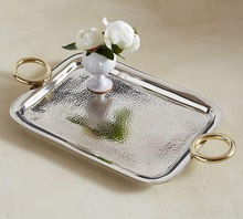 serving tray with metal handles