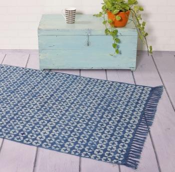 hand block printed floor rug