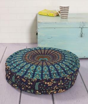 round hippie reversible floor cushion