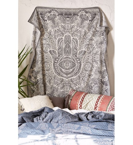 HAMSA HAND THROW HIPPIE WALL HANGING URBAN SKETCHED HAND TAPESTRY