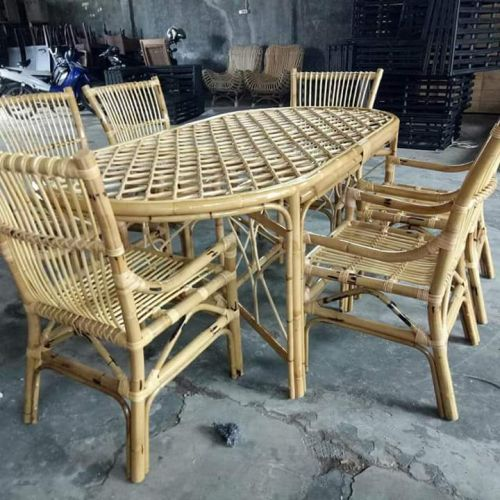 Cane Dining Table Set