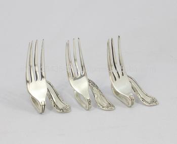 Metal Designer Fork Card holder silver plated