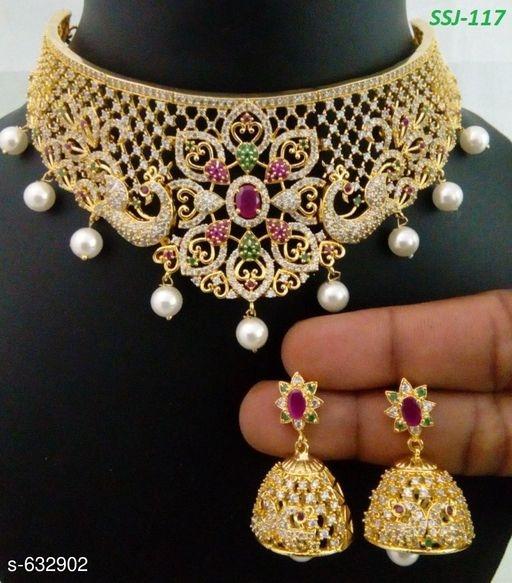 Gold Party Wear Neclace Set