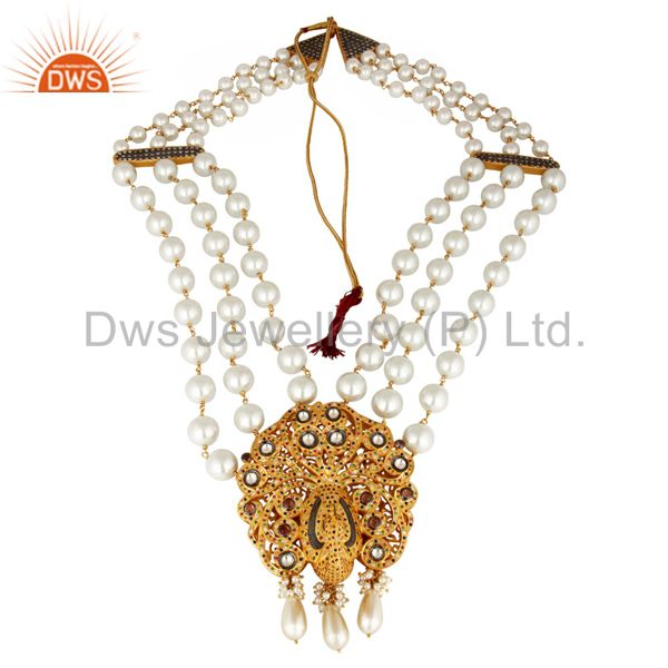 South Indian Traditional Pearl 22k Gold Plated Silver Peacock