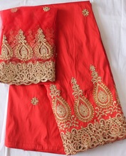 Red african raw silk george lace fabric
