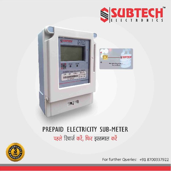 SUBTECH Single Phase Prepaid Electricity Sub - Meter 220V 50Hz 40A (SUB82SP)