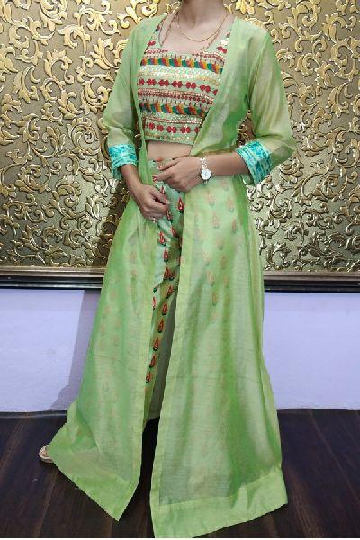 Semi Stitched Party Wear Chanderi Silk Western Stylish Plazzo Dress