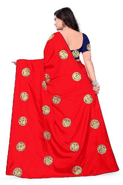 Party Wear Embroidery Sana Silk Two Tone Effect Fancy Saree