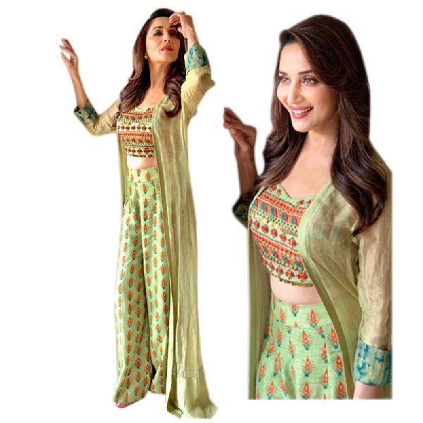 Semi Stitched Party Wear Chanderi Silk Western Stylish Plazzo Dress (Ab-179)