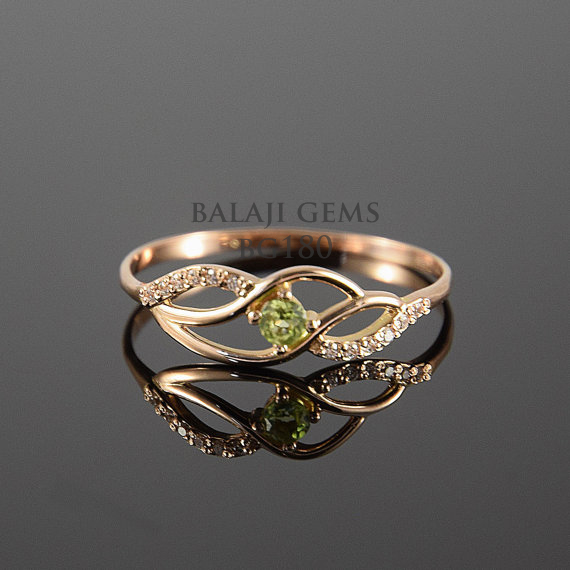 Natural Peridot And White Topaz Jewelry Rings Manufacturer In