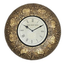 Brass Antique Wall Clock with Elephant