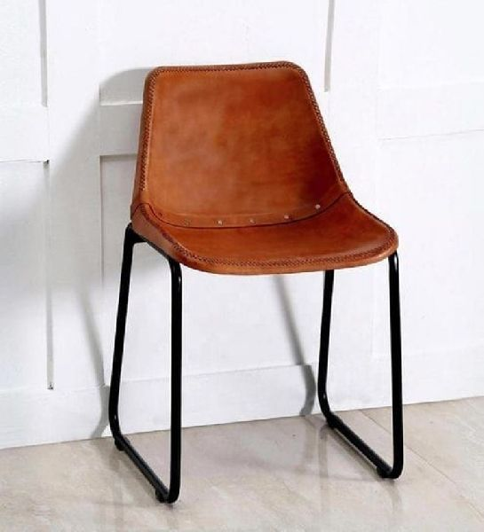 Antique Aged Leather Iron Dining Chair
