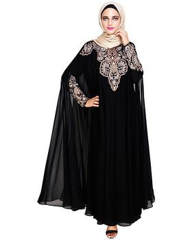 Black Irani Kaftan Embroidered Abaya