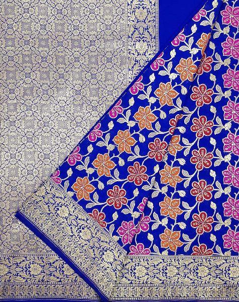 Blue Katan Silk Floral Jaal Banarasi Saree For Wedding