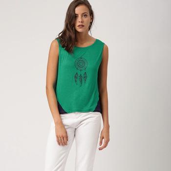 Green Cotton O Neck Tops