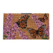 Butterfly black printed coir tuft door mat