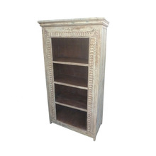 Antique White Washed Wooden Carved Book Shelf