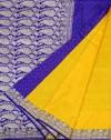 Yellow Art Silk Jamdani Bengali Banarasi Saree