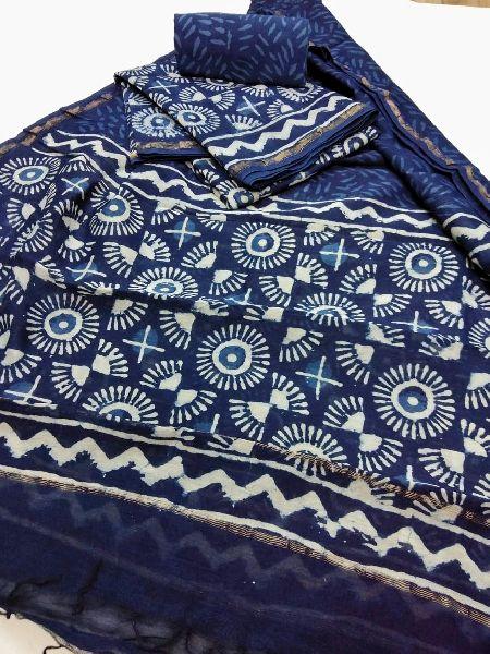 Printed Chanderi Silk Unstitched Suit