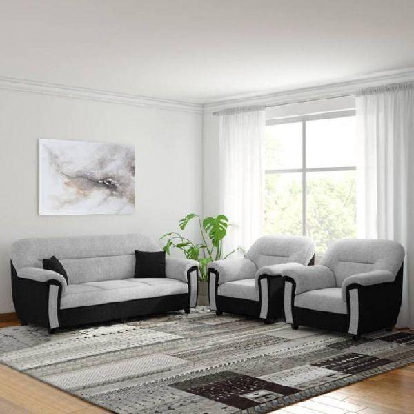 Bharat Lifestyle New Sagittarius Fabric 3 + 1 + 1 Black Grey Sofa Set