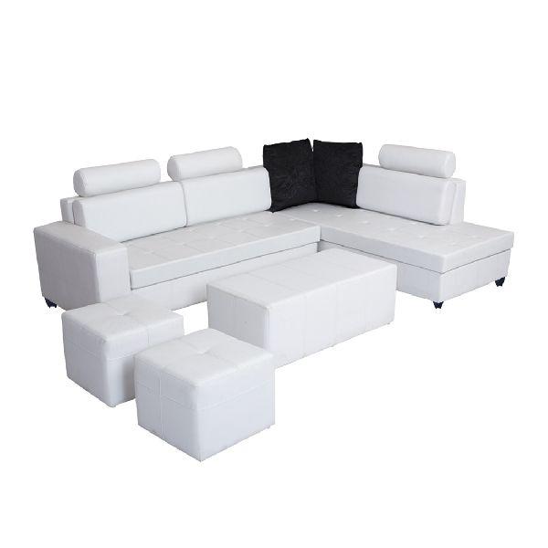 Amazing Bharat Lifestyle Orchid Leatherette Sectional Sofa Set Finish Color White Bls Orchid Leather White 3 D Ct 2P Machost Co Dining Chair Design Ideas Machostcouk