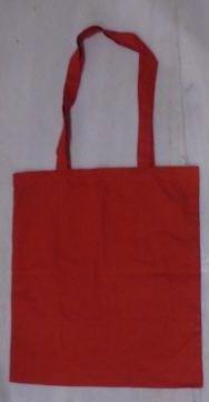 Red Laminated Canvas Fabric Bag with Self Handle
