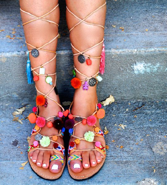 Ladies Beautiful Beach Pompom Gladiator Sandal